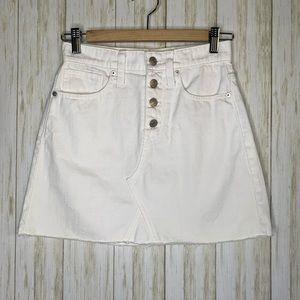 Madewell Rigid Denim A-line Skirt Button Fly Mini